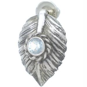 (3月)アクアマリン ブラック ネイディブ ハート フェザー  シルバー ピアス 誕生石*BE-1037