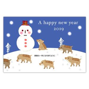セブンオレンジ 2019亥年賀状《雪降る夜 うりぼう》(写真用(光沢)年賀葉書印刷タイプ)