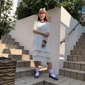 White pleats dress