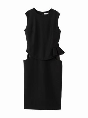 Frill dress / black × black  / W15DR06