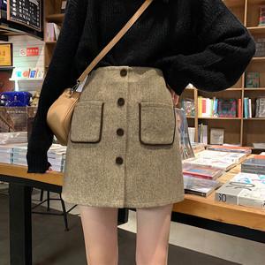 【ボトムス】着心地良いハイウエストシングルブレストAラインスカート
