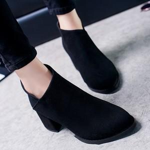 【配送優先】【shoes】洗練オフィス無地気質アップファッション绒面ブーツ24809983