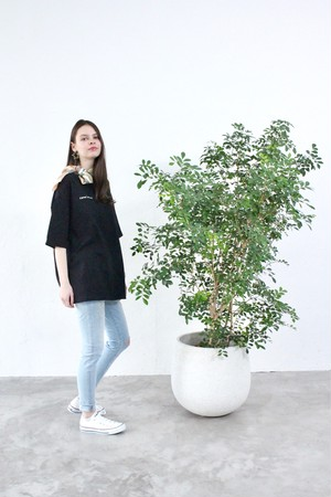 Unisex Big silhouette T-shirt(Black)