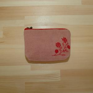 草木染めポーチ(インドあかね)刺しゅう柄