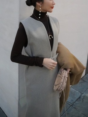 turtle neck knit / brown (即納)