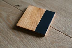 wood&Leather Coaster 5Set