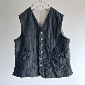 1930's Vintage ALTERATION  French Old Gray Wool Stripe Gilet
