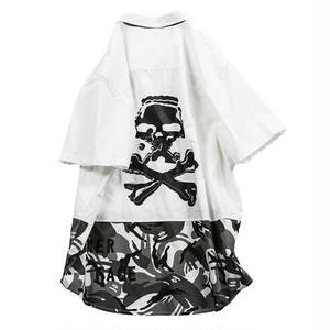 スカルと迷彩半袖シャツ大きいサイズメンズ送料無料