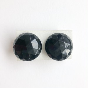 """Trifari"" black earring[e-1005]"