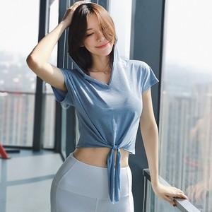 【フィットネスウェア】スポーツ系フード付けリボン付けシンプルTシャツ21651454