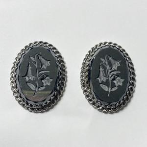 Vintage Whiting & Davis Hematite Intaglio Earrings