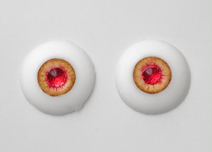 Silicone eye - 17mm Burning Amber with Shiny Red Pupils