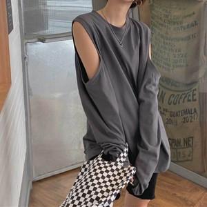 オープンショルダーロングTシャツ   ロンT Tシャツ デザインシャツ 夏服 秋服