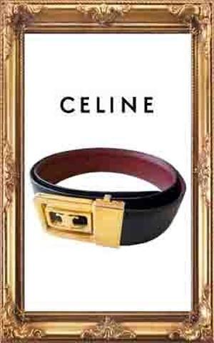 ゴールドバックルレザーベルト【CELINE/セリーヌ】