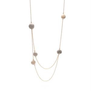 Random Felt Ball Double Necklace - Grey