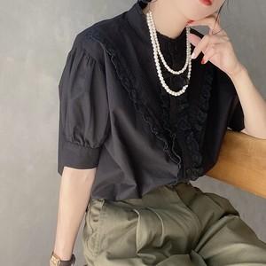 short sleeve lace blouse 【black】