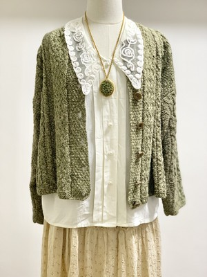 Vintage Cotton Linen Knit Cardigan Made In IRELAND