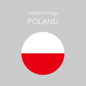 円形国旗ステッカー「ポーランド」