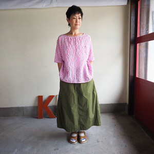 ゆらぎギンガムチェック 裾バインダーTシャツ  01S29 サイズ2