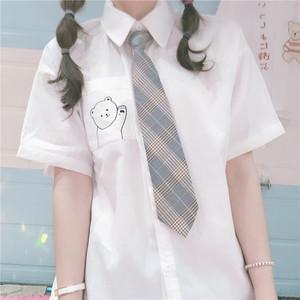 【トップス】学園風清新少女プリント切り替えシャツ