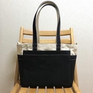 「ボックストート」 中サイズ 「生成り×ブラック(黒)」 帆布トートバッグ 倉敷帆布8号