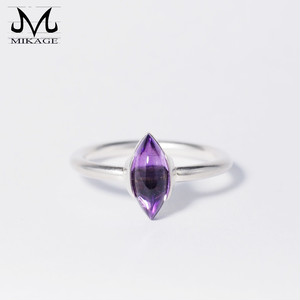 Cabochon Marquise Amethyst Ring:銀925アメジストリング