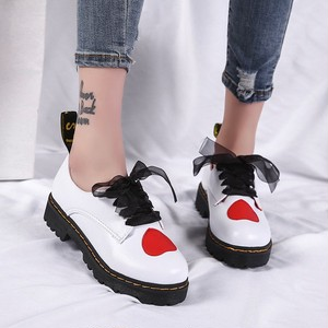 【flat shoes】2018 spring new heart ribbon  thick bottom flat shoes