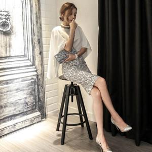 セットアップ❤マントのようなトップスとパイソン柄のタイトスカートセットが大人♪ hdfks970041