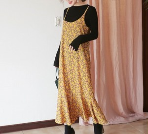 裾フレア花柄イエローキャミロングワンピース