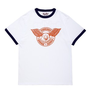 WING PORK RINGER TEE/WHITE×ORANGE