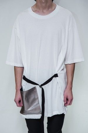 18SS Silver Leather Poket Big T-Shirt