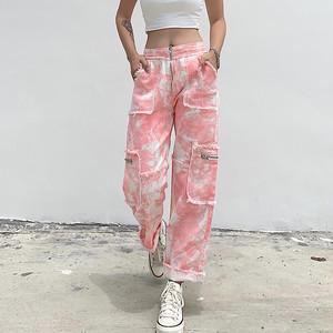 2782タイダイ染めパンツ レディース デニムパンツ ダンスパンツ 衣装 ヒップホップダンスウェア 原宿系 カジュアルパンツ ロングパンツ ストリート ピンク