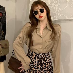 【トップス】シンプル 質感のいい シングル ブレスト 折襟 長袖 無地 韓国系シャツ42482711