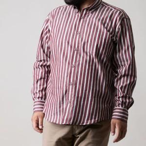 【2L〜4L】長袖ストライプシャツ