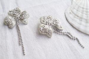 【刺繍ピアス】Flowers pearl chaine ✴︎ silver