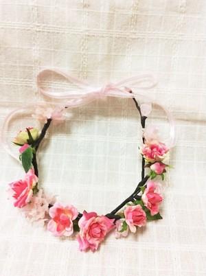 ヘッドアクセ かわいい花冠 ふんわりオーガンジーリボン髪飾り