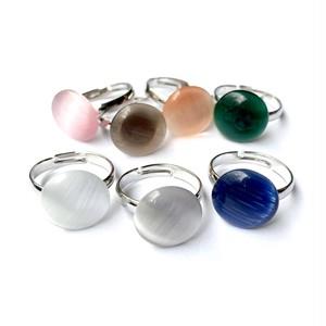 ラウンドガラスカボションのリング(全7色)