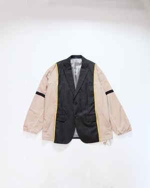 custom switching jacket (beige nylon&pinstripe)