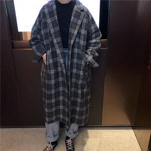 〈カフェシリーズ〉ビッグシルエットチェックコート【big silhouette check coat】