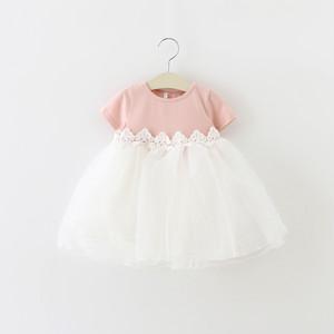 【ベビー服】すがすがしいスウィート雰囲気メッシュカジュアルワンピース19846915