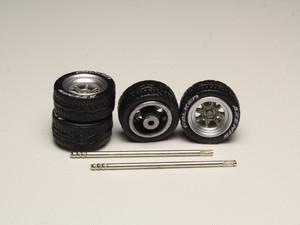 1/64サイズ ミニカー用ホイール ハヤシストリートタイプ ゴムタイヤ 1台分