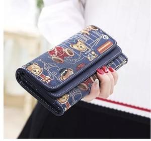 レディースファッション 財布 小物 おしゃれ カジュアル かわいい クマプリント カードケース 小銭いれ 長財布★02918