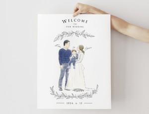 NY在住イラストレーターが描くウェルカムボード【ボタニカル】