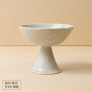 1[前田 麻美 個展]灰青釉花七宝コンポート/S