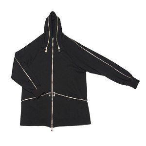 Hood Zip Up Jacket (Black-Silver Zip)