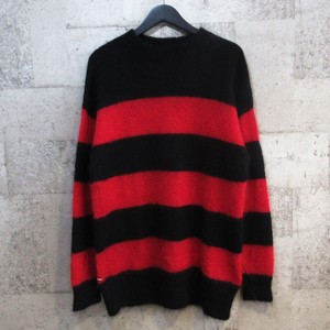 uniform experiment 16AW MOHAIR BORDER CREW NECK KNIT