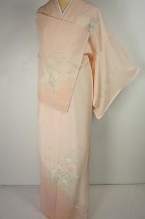 未使用【夏】手描き友禅 絽 訪問着 花柄 正絹 乙女色 ピンク 538