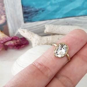 【5号】brass cryrtal stone ring