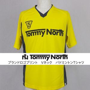 Tommy North ブランドロゴプリント Vネック バドミントンTシャツ BDM0001 イエロー×グレー