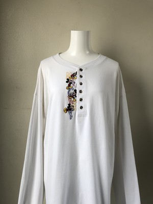 USED / MICKY embroidery over size L/S